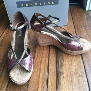 "4"" Cork Heels NIB Kenneth Cole Reaction 7"